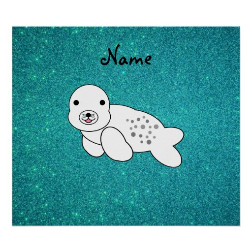 Personalized name seal pup turquoise glitter posters