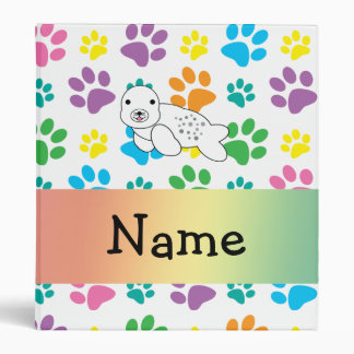 Personalized name seal rainbow paws vinyl binder