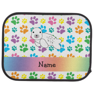 Personalized name seal rainbow paws car floor mat