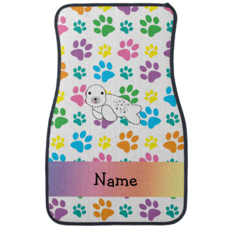 Personalized name seal rainbow paws car mat