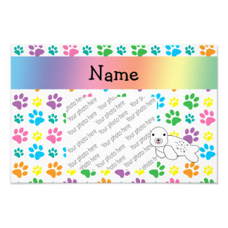 Personalized name seal rainbow paws photograph