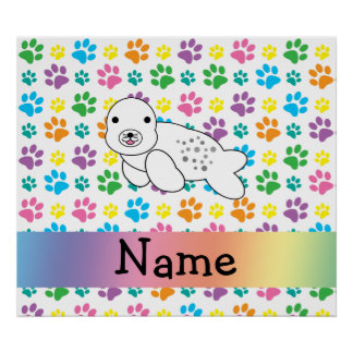 Personalized name seal rainbow paws posters