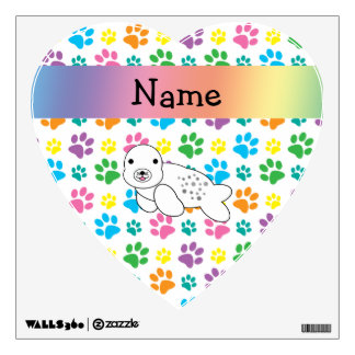 Personalized name seal rainbow paws room decal