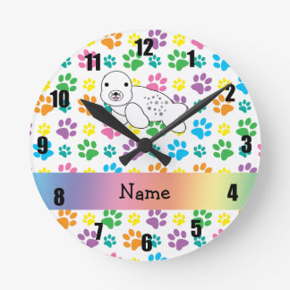 Personalized name seal rainbow paws round clock