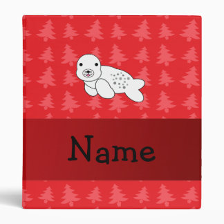 Personalized name seal red christmas trees 3 ring binder