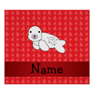 Personalized name seal red christmas trees posters
