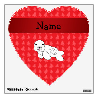 Personalized name seal red christmas trees wall graphics