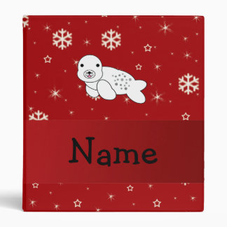 Personalized name seal red snowflakes binder