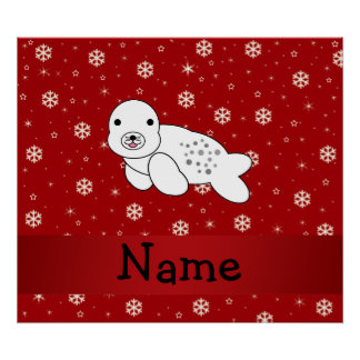 Personalized name seal red snowflakes print