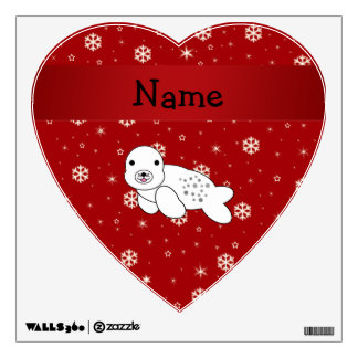Personalized name seal red snowflakes wall graphics