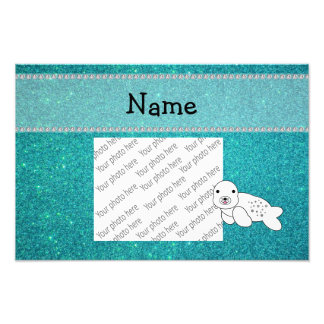 Personalized name seal turquoise glitter art photo
