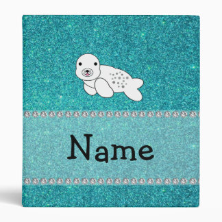 Personalized name seal turquoise glitter binders