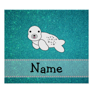 Personalized name seal turquoise glitter poster