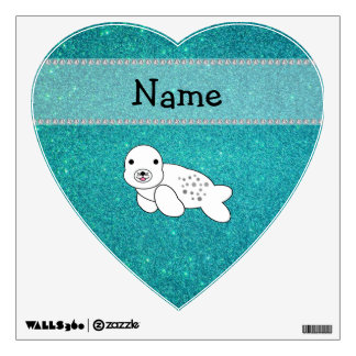 Personalized name seal turquoise glitter wall skins