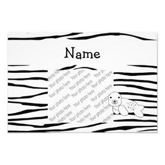 Personalized name seal zebra stripes art photo