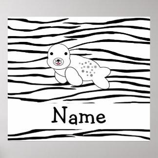 Personalized name seal zebra stripes posters