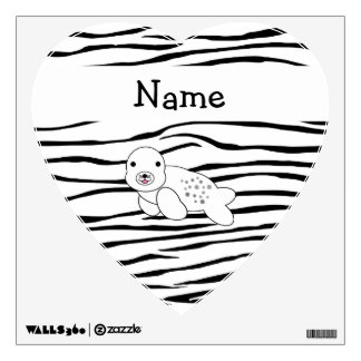 Personalized name seal zebra stripes wall decor