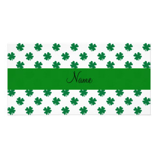 Personalized name shamrocks picture card