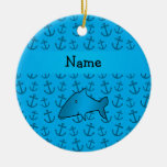 Personalized name shark blue anchors pattern christmas tree ornament