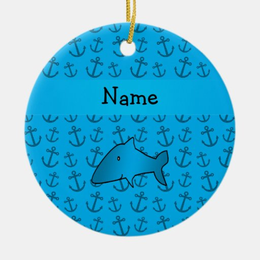 Personalized name shark blue anchors pattern Double-Sided ceramic round christmas ornament