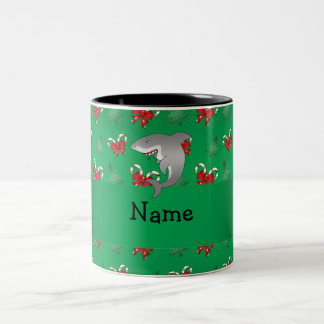 Personalized name shark green candy canes bows Two-Tone coffee mug