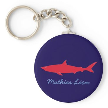 Beach Themed personalized name shark keychain