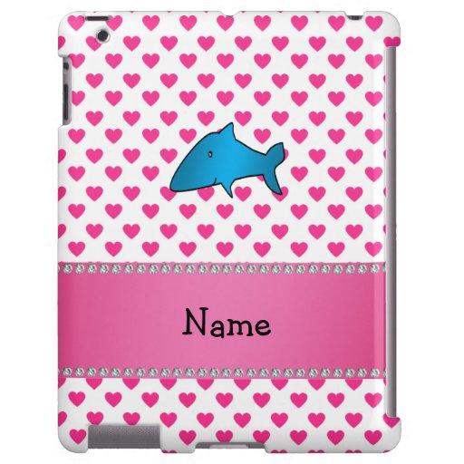 Personalized name shark pink hearts polka dots