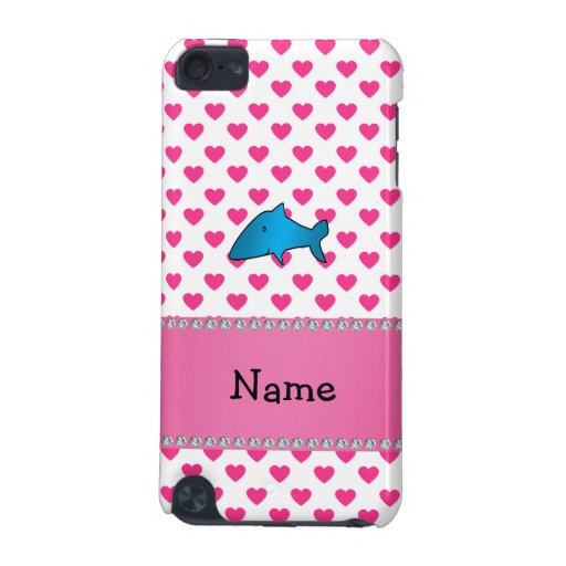 Personalized name shark pink hearts polka dots iPod touch (5th generation) covers