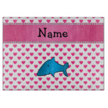 Personalized name shark pink hearts polka dots cutting boards