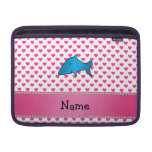 Personalized name shark pink hearts polka dots sleeve for MacBook air