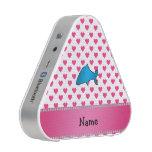 Personalized name shark pink hearts polka dots speaker
