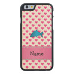 Personalized name shark pink hearts polka dots carved® maple iPhone 6 case