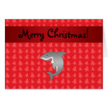 Personalized name shark red christmas trees greeting card