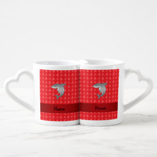 Personalized name shark red christmas trees couples' coffee mug set