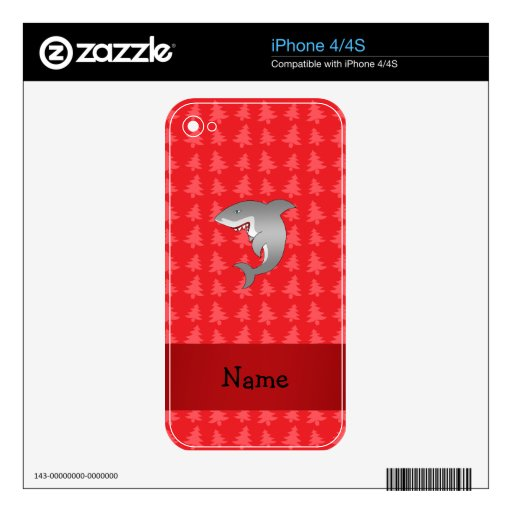 Personalized name shark red christmas trees skins for the iPhone 4