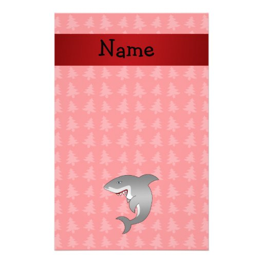 Personalized name shark red christmas trees stationery design