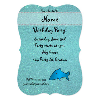 Personalized name shark turquoise glitter card