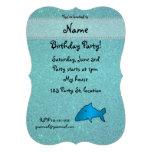 Personalized name shark turquoise glitter custom invites