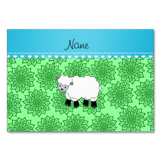 Personalized name sheep green flowers table card
