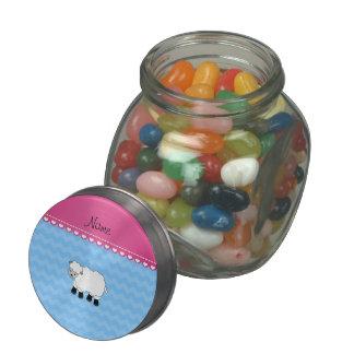 Personalized name sheep pastel blue chevrons glass jar