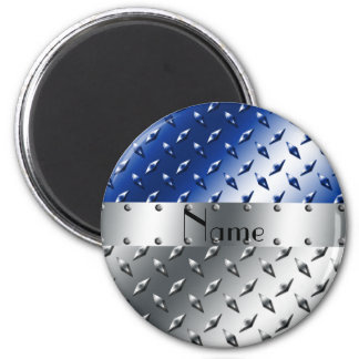 Personalized name silver blue diamond steel plate 2 inch round magnet