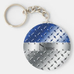 Personalized name silver blue diamond steel plate basic round button keychain