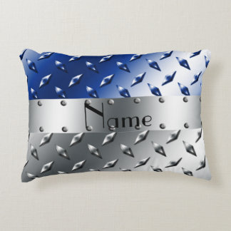 Personalized name silver blue diamond steel plate accent pillow