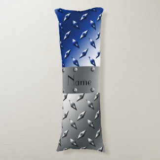 Personalized name silver blue diamond steel plate body pillow