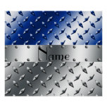 Personalized name silver blue diamond steel plate poster