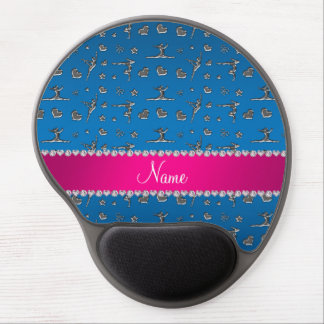 Personalized name silver blue gymnastics gel mouse pads