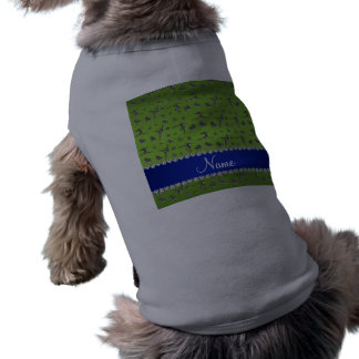 Personalized name silver bright green gymnastics doggie tee shirt