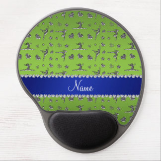 Personalized name silver bright green gymnastics gel mouse pad