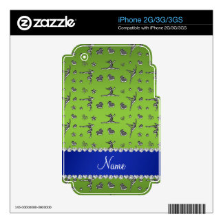 Personalized name silver bright green gymnastics skin for the iPhone 3GS