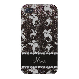 Personalized name silver dragons black glitter iPhone 4 covers